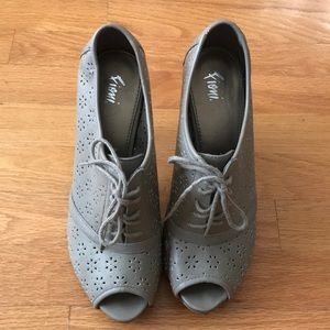 Gray Open Toe Heels